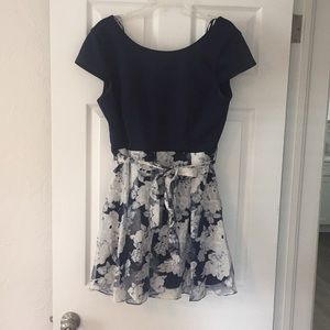 B. Darling blue floral fit and flare dress